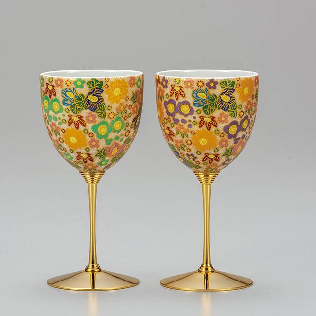 九谷焼 ペアワインカップ 花詰 2個セット 食器セット 日本製 ギフト うつわ 陶磁器