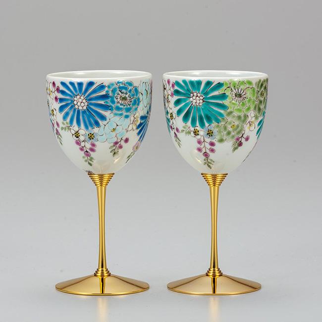 九谷焼 ペアワインカップ 華 2個セット 食器セット 日本製 ギフト うつわ 陶磁器