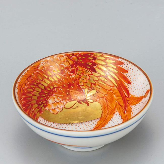 九谷焼 平盃 赤絵鳳凰 ぐい呑み 日本製 ギフト うつわ 陶磁器