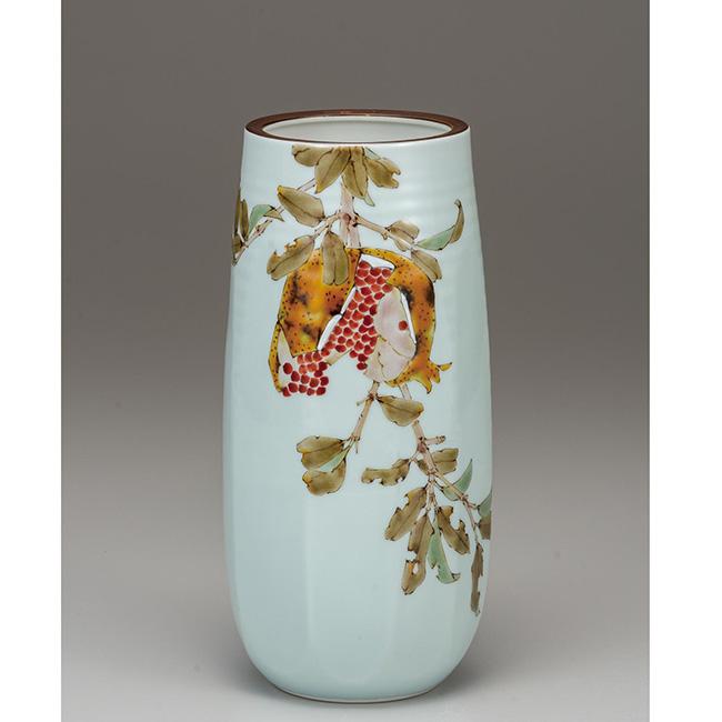 九谷焼 8号花瓶 柘榴 日本製 ギフト 陶磁器
