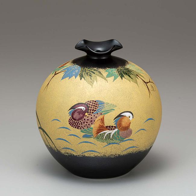 九谷焼 6.5号花瓶 金彩おしどり 日本製 ギフト 陶磁器