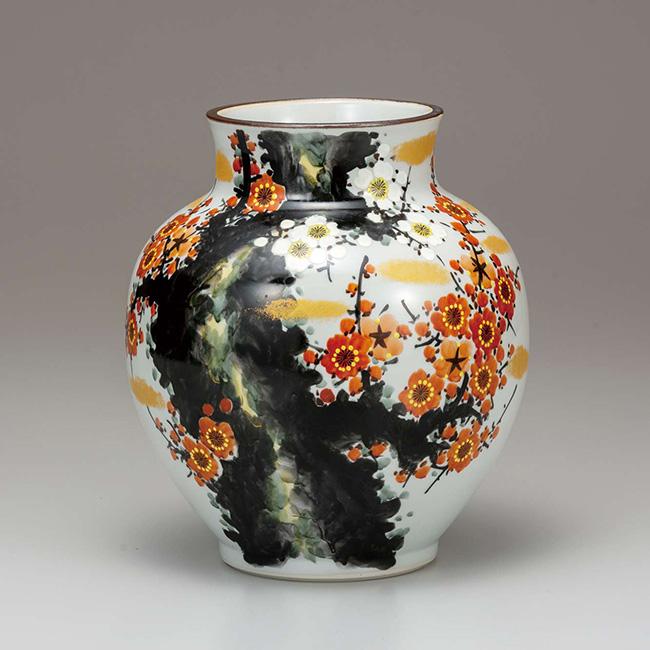 九谷焼 8号花瓶 古木梅 日本製 ギフト 陶磁器