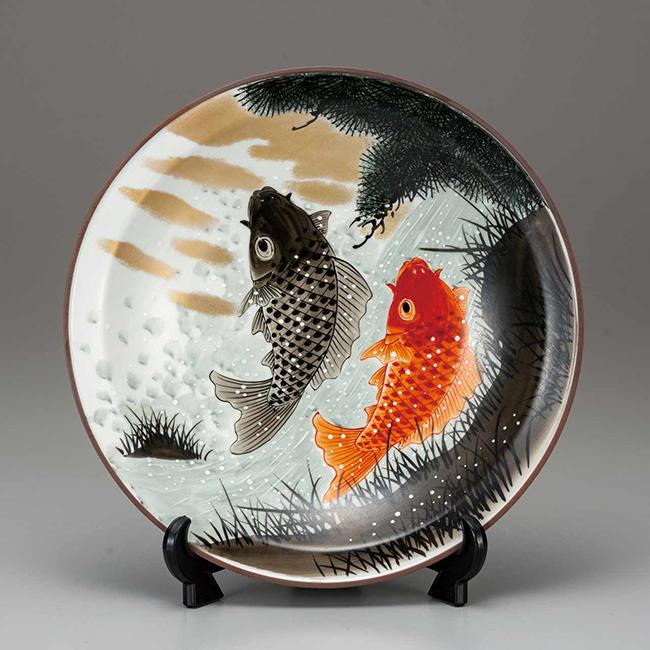 九谷焼 10号飾皿 鯉の滝登り 日本製 ギフト うつわ 陶磁器