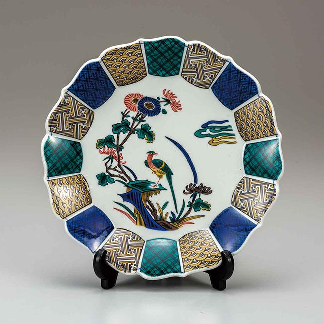 九谷焼 10号飾皿 古九谷花鳥 日本製 ギフト うつわ 陶磁器