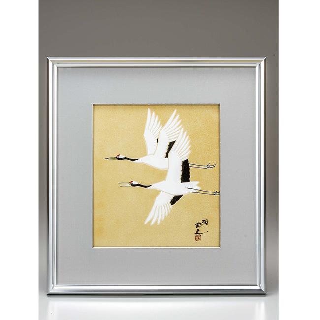 九谷焼 陶額 金彩双鶴 日本製 ギフト 陶磁器