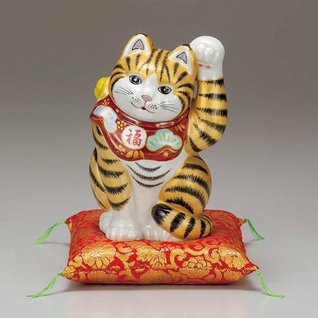 九谷焼 6.5号招き猫 金釉彩 日本製 ギフト うつわ 陶磁器