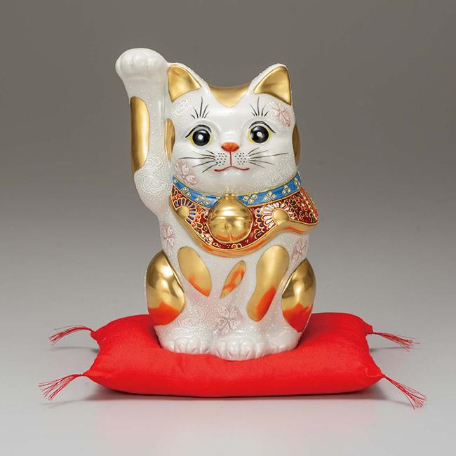 九谷焼 8号招き猫 金ブチ盛 日本製 ギフト うつわ 陶磁器