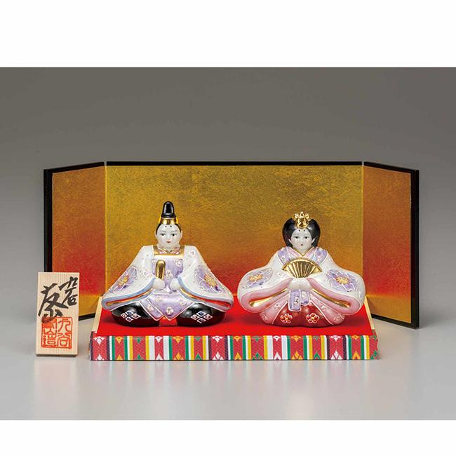 九谷焼 3号雛人形 花むらさき 日本製 ギフト うつわ 陶磁器