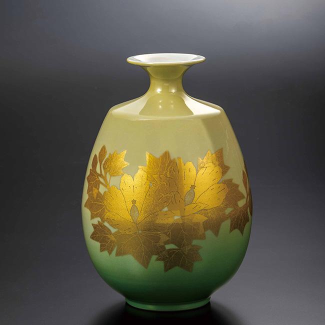 九谷焼 8号花瓶 釉裏金彩芙蓉文 日本製 ギフト 陶磁器