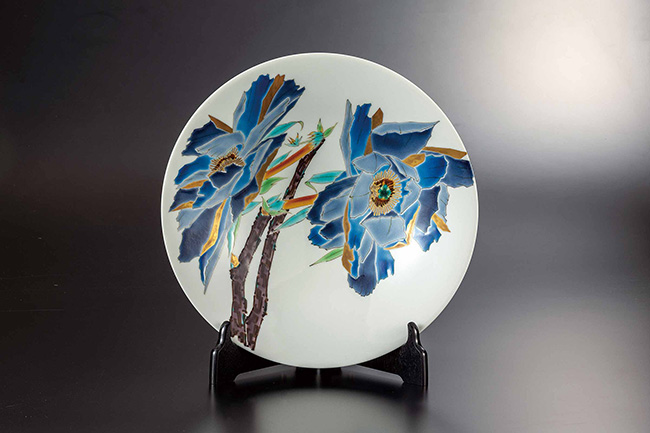 九谷焼 10号飾皿 色絵牡丹 日本製 ギフト うつわ 陶磁器
