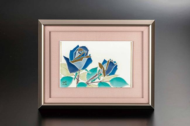 九谷焼 陶額 色絵薔薇 日本製 ギフト 陶磁器