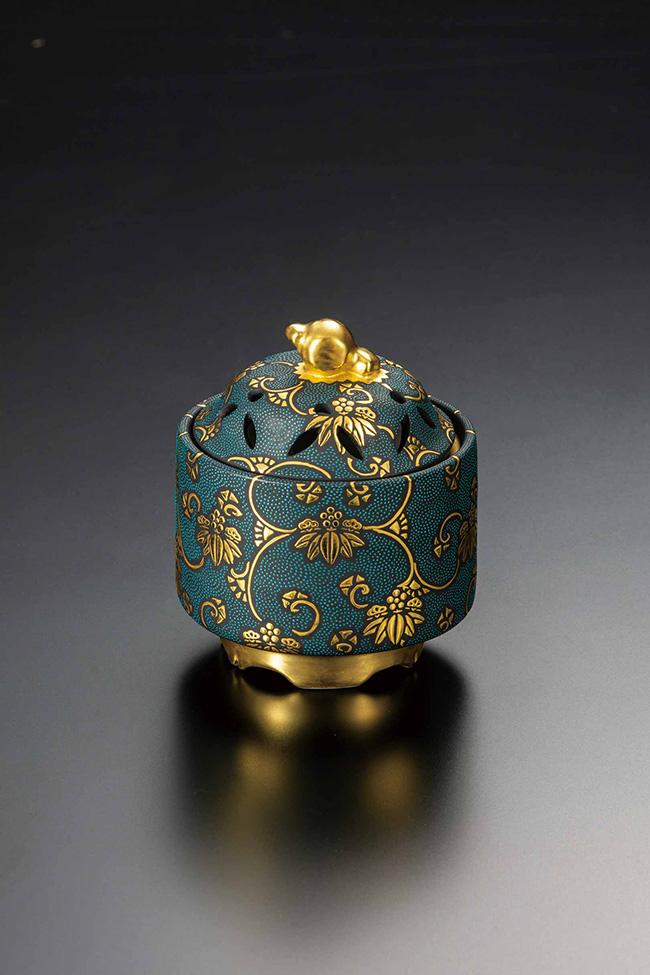 九谷焼 2.8号小槌香炉 青粒松竹梅文 日本製 ギフト 陶磁器