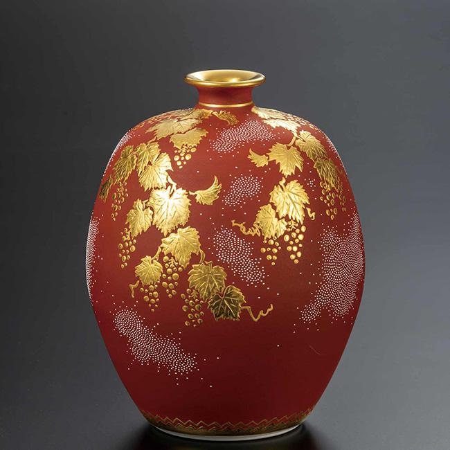 九谷焼 5号華器 盛金白粒葡萄図 日本製 ギフト うつわ 陶磁器