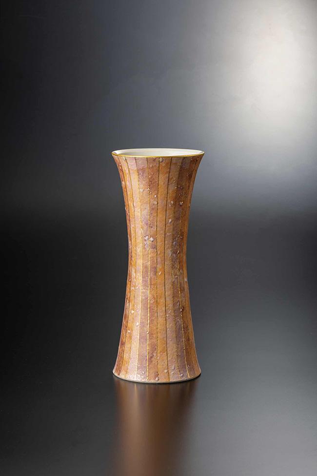 九谷焼 9号花器 彩色金彩 日本製 ギフト うつわ 陶磁器