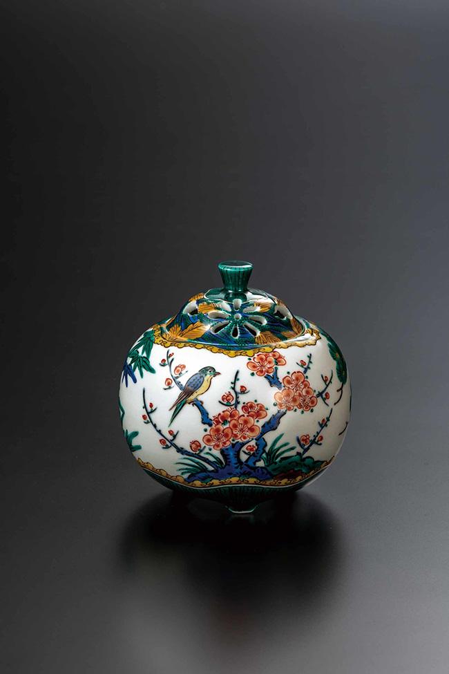 九谷焼 3.5号香炉 色絵松竹梅 日本製 ギフト 陶磁器