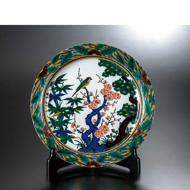 九谷焼 10号飾皿 色絵松竹梅 日本製 ギフト うつわ 陶磁器