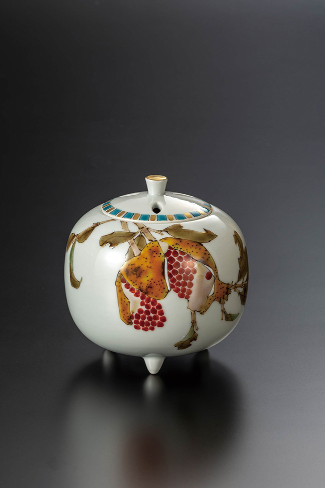 九谷焼 3.8号香炉 柘榴 日本製 ギフト 陶磁器