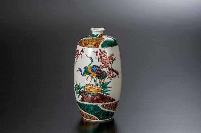 九谷焼 7号花瓶 古九谷梅鳥 日本製 ギフト 陶磁器