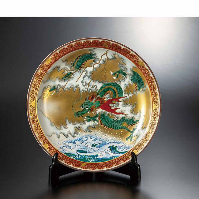 九谷焼 12号飾皿 吉祥雲龍 日本製 ギフト うつわ 陶磁器