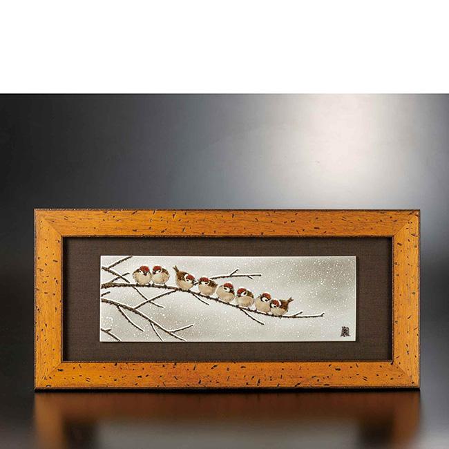 九谷焼 陶額 雪群雀図 日本製 ギフト 陶磁器