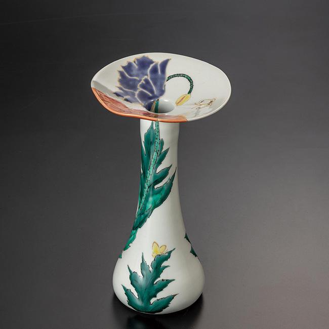 九谷焼 7.5号花器 ポピー 日本製 ギフト うつわ 陶磁器