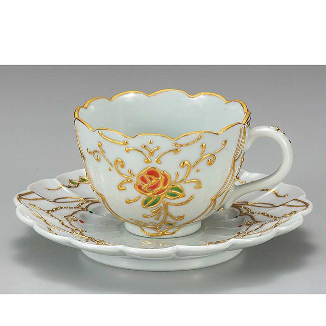 九谷焼 カップソーサー 花結 はなむすび 碗皿 珈琲 紅茶 日本製 ギフト うつわ 陶磁器