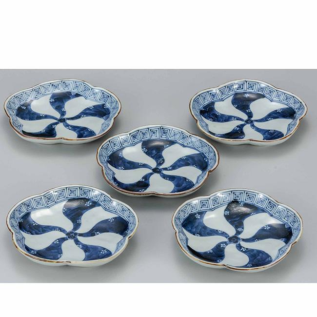 九谷焼 5.5号梅型皿揃 祥瑞 5個セット 5枚 食器セット 日本製 ギフト うつわ 陶磁器