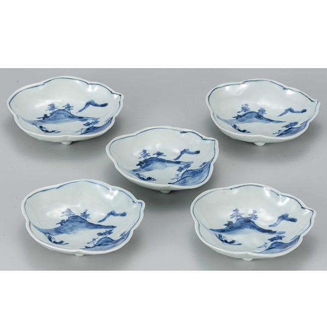 九谷焼 4.5号蓮葉皿揃 古染山水 5個セット 5枚 食器セット 日本製 ギフト うつわ 陶磁器