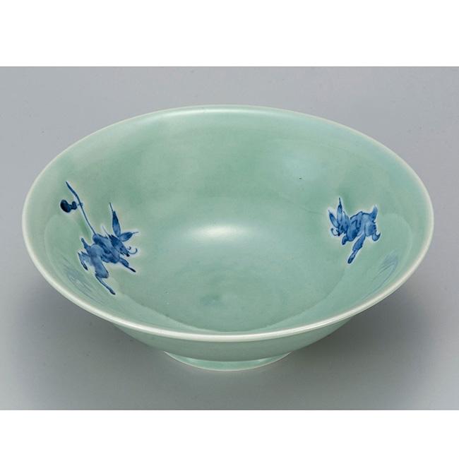 九谷焼 6.5号鉢 青磁うさぎ 日本製 ギフト うつわ 陶磁器