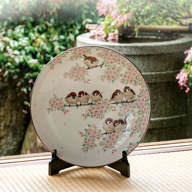 九谷焼 10号飾皿 桜群雀図 日本製 ギフト うつわ 陶磁器