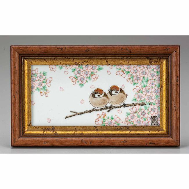 九谷焼 陶額 桜二雀図 日本製 ギフト 陶磁器