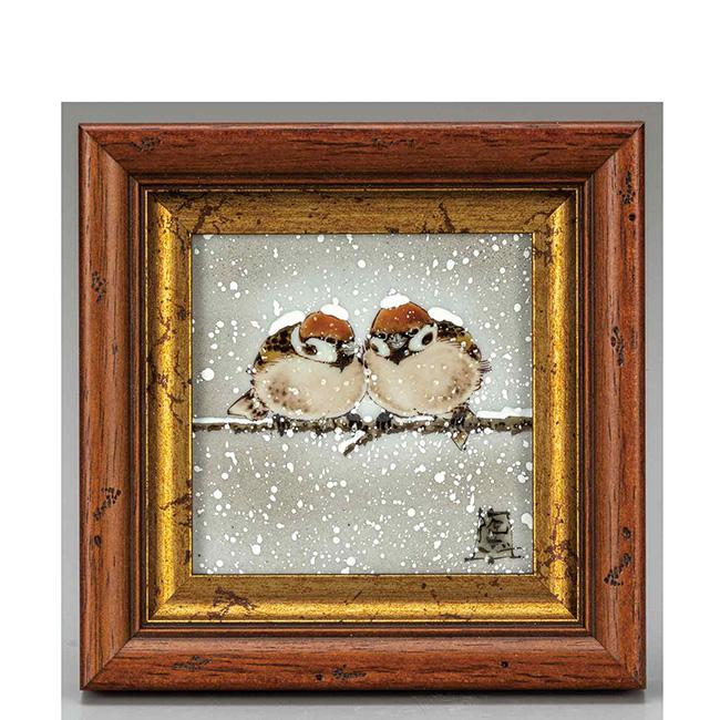 九谷焼 陶額 雪二雀図 日本製 ギフト 陶磁器