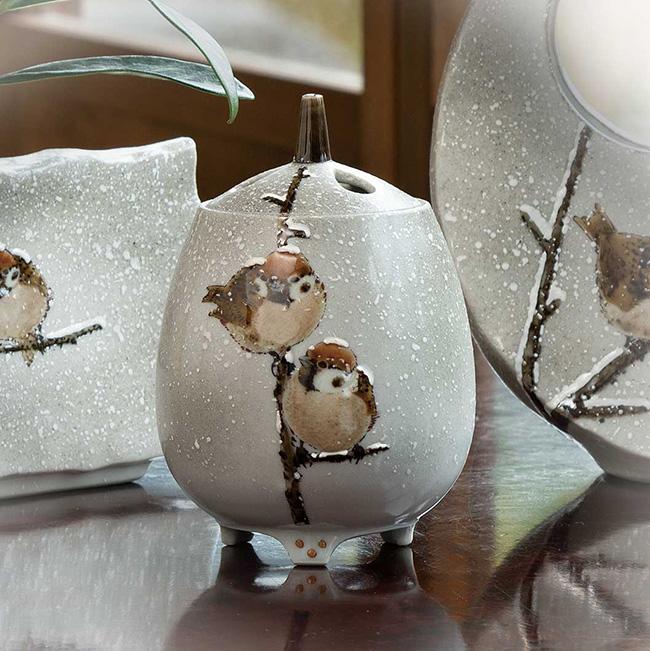 九谷焼 4号香炉 雪二雀図 日本製 ギフト 陶磁器