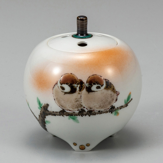 九谷焼 3号香炉 二雀図 日本製 ギフト 陶磁器