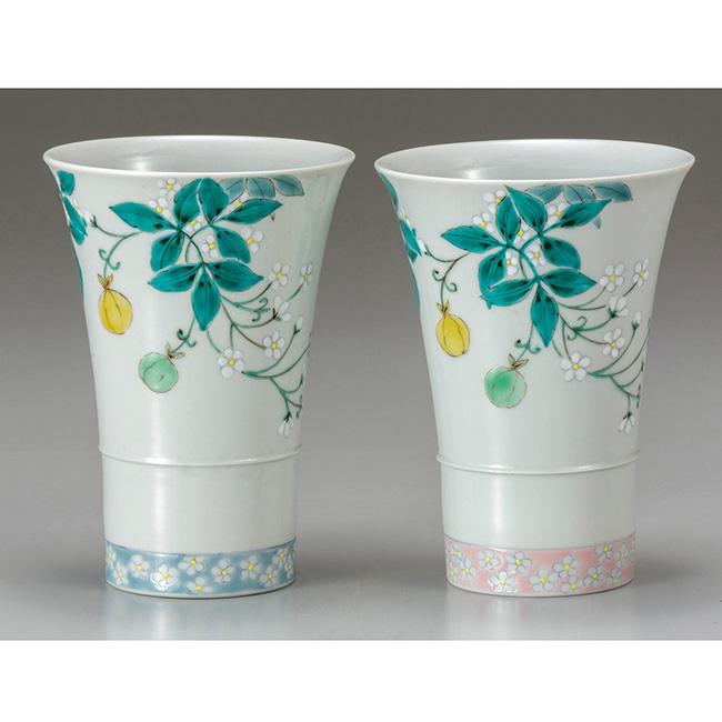 九谷焼 ペアフリーカップ 風船かずら 2個セット 湯呑 食器セット 日本製 ギフト うつわ 陶磁器