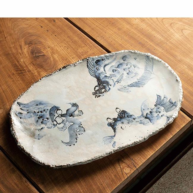九谷焼 16号盛皿 海の幸 日本製 ギフト うつわ 陶磁器