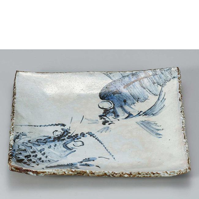 九谷焼 9号角盛皿 海老鯛 日本製 ギフト うつわ 陶磁器