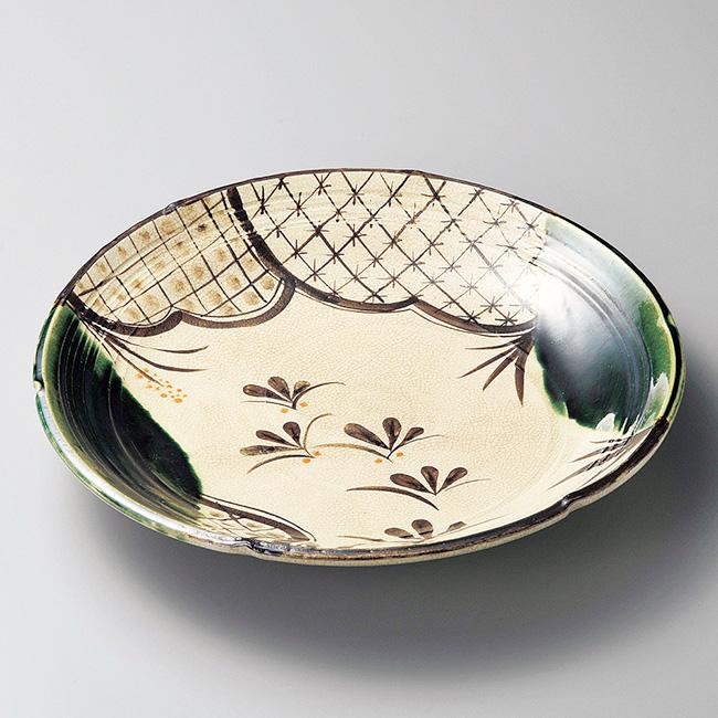 和食器 土物織部七宝 皿 25.5×3.7cm プレート うつわ おさら おうち 陶器 カフェ おしゃれ 軽井沢 春日井