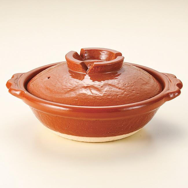 和食器 家族でお鍋 赤楽 1~2人用 6号鍋 信楽焼 土鍋 直火 耐熱 おうち ごはん おしゃれ プレゼント 陶器 うつわ