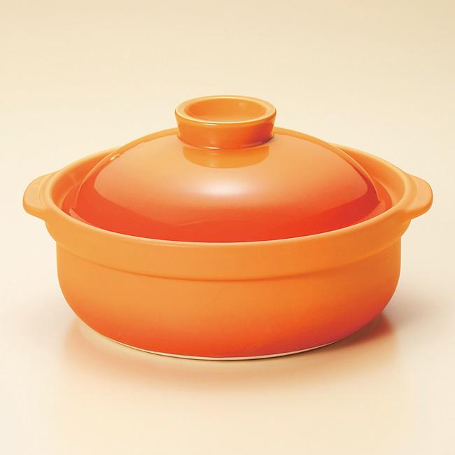 和食器 家族でお鍋 宴 ベイクオレンジ 5~6人用 10号鍋 土鍋 直火 耐熱 おうち ごはん おしゃれ プレゼント 陶器 うつわ