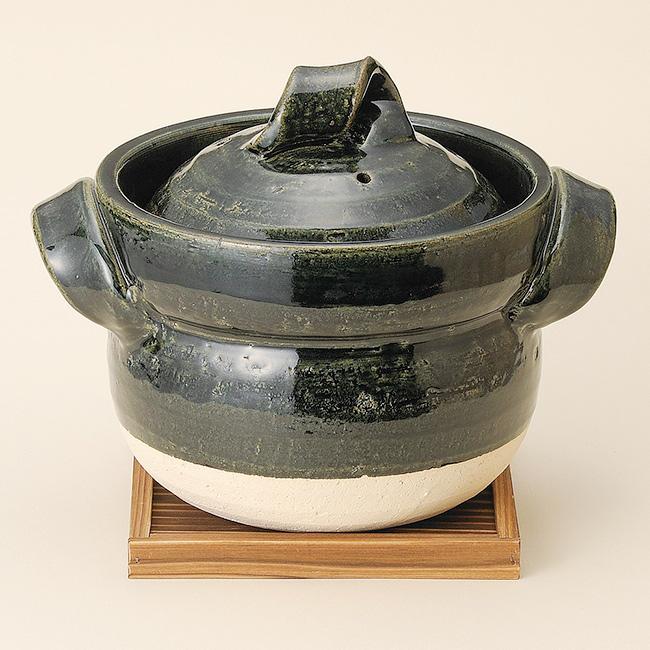 和食器 織部五合御飯鍋のみ 単品 信楽焼 土鍋 直火 耐熱 おうち ごはん おしゃれ プレゼント 陶器 うつわ
