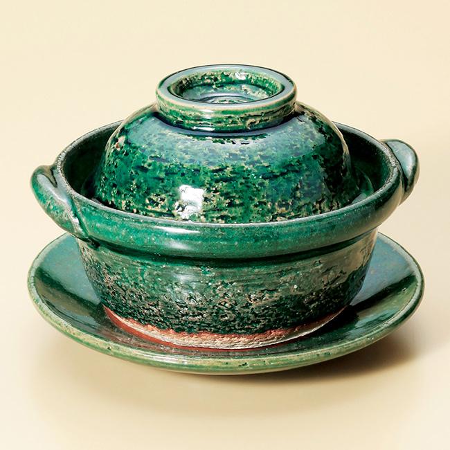 和食器 織部4.5号鍋 受皿付 信楽焼 土鍋 直火 耐熱 おうち ごはん おしゃれ プレゼント 陶器 うつわ
