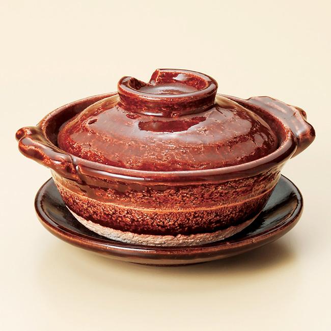 和食器 アメ釉5号鍋 受皿付 信楽焼 土鍋 直火 耐熱 おうち ごはん おしゃれ プレゼント 陶器 うつわ