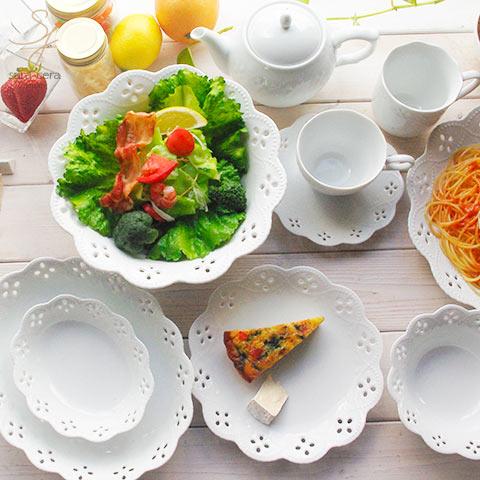 【送料無料】17ピースセット 白い花と器の物語 2人用ファミリーセット 白い食器