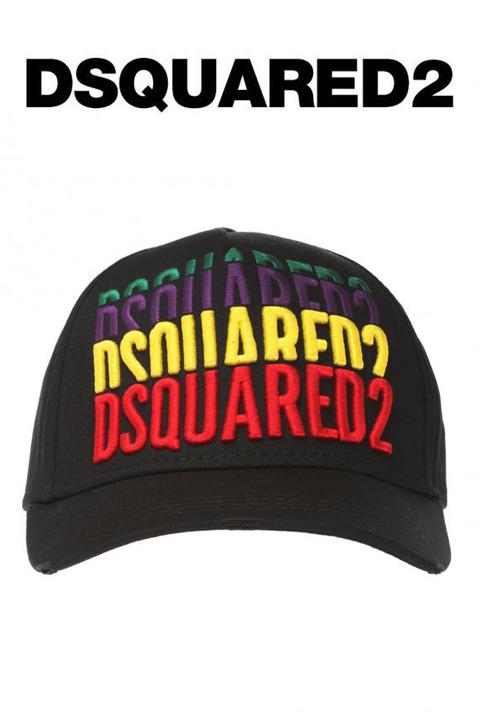 DSQUARED2(ディースクエアード)ベースボールキャップ【黒/ブラック】【メンズ】【2018年秋冬新作】【BCM0112 M197】【LEON・Safari掲載ブランド】【刺繍】【カーブキャップ】【ハット】【カラフル】【ロゴ入り】