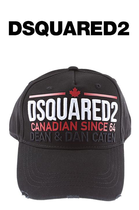 DSQUARED2(ディースクエアード)ベースボールキャップ【黒/ブラック】【ユニセックス】【Baseball Cap】【ベースボールキャップ】【BCM0227】【LEON・Safari掲載ブランド】【ワッペン】【ハット】【ロゴ入り】【送料無料】