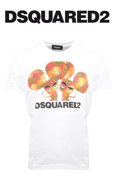 DSQUARED2(ディースクエアード)プリントロゴTシャツ【twin print crew neck Tshirt cutandsew black】【2020春夏新作】【ホワイト/白】【S74GD0654 100】【LEON・Safari掲載ブランド】【半袖】【丸首】【ブランドロゴ】【メンズ】【ジャージ素材】【送料無料】
