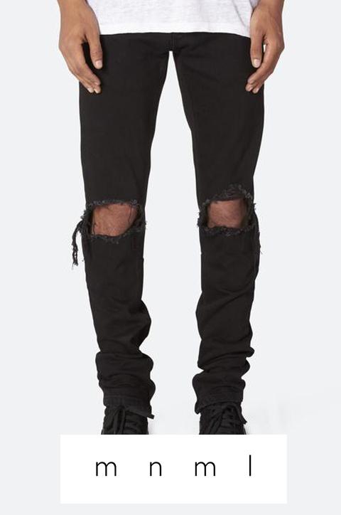 mnml(ミニマル)ダメージデニム【黒/ブラック】【メンズ】【18MLSP214D】【M1 DENIM】【2019春夏新作】【ロゴ入り】【デニム】【クラッシュ】【パンツ】【黒パンツ】【裾ジップ】