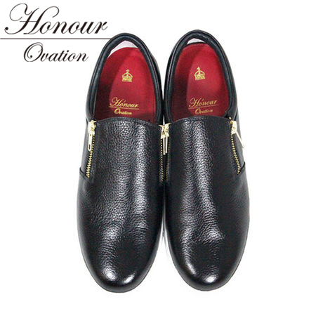 Honour Ovation(アナーオベーション)スキニースリッポン【Black】【黒/ブラック】【メンズ】芸能人も多数愛用【雑誌OCEANS・WOOFIN' 掲載ブランド!】2016年秋冬新作【3000】【ファスナー】【送料無料】