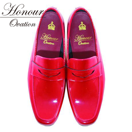 Honour Ovation(アナーオベーション)【redenamel】【レッド/赤】【メンズ】)芸能人も多数愛用【雑誌OCEANS・WOOFIN' 掲載ブランド!】【2019春夏新作】【1000】【コインローファー】【送料無料】